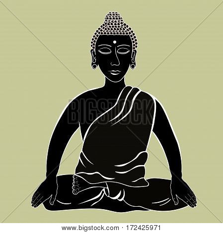 Buddha Sitting In The Lotus Indian Meditation Closed Eyes Black Vector Illustration