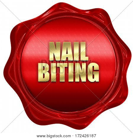 nail biting, 3D rendering, red wax stamp with text