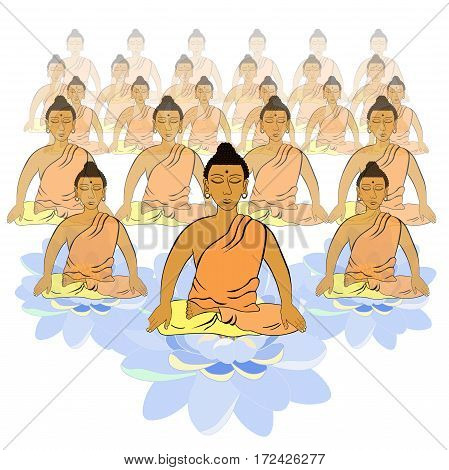 Buddha Sitting In The Lotus Indian Meditation Closed Eyes   Vector Illustration