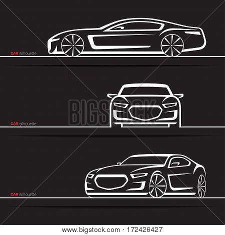 Vector car silhouettes set. Modern luxury sedan. Front, three quarter and side views. Abstract hand-drawn vehicle isolated on black background