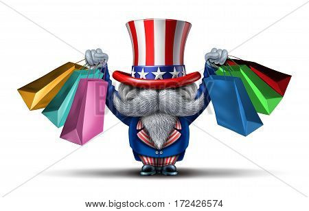 American buyer or customer concept and shopping in the United States of America as an uncle sam consumer character holding bags from retail stores as a metaphor and economic prosperity symbol with 3D illustration elements.