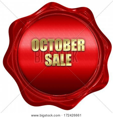 october sale, 3D rendering, red wax stamp with text
