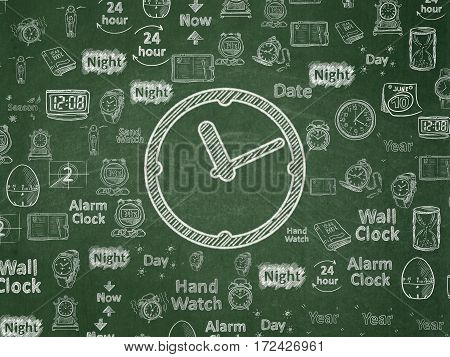 Time concept: Chalk White Clock icon on School board background with  Hand Drawing Time Icons, School Board