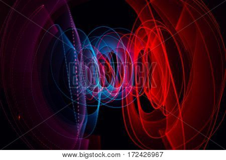 light painting with black background red and blue