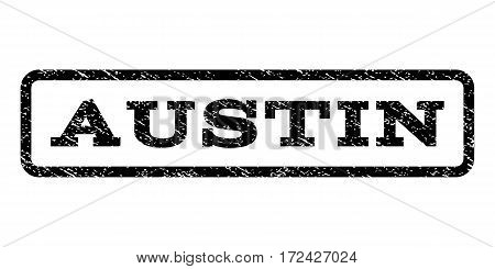 Austin watermark stamp. Text tag inside rounded rectangle frame with grunge design style. Rubber seal stamp with dust texture. Vector black ink imprint on a white background.