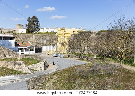 the city wall and the old entrance in Campo Maior, Portalegre district, Portugal