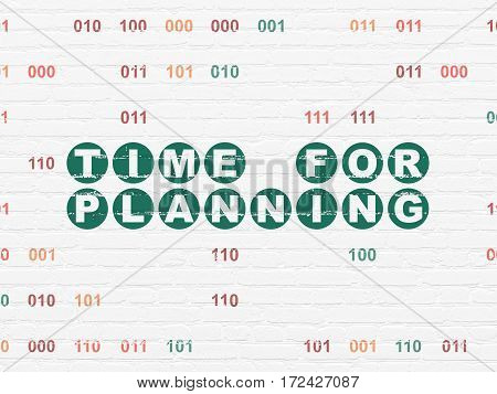Time concept: Painted green text Time for Planning on White Brick wall background with Binary Code