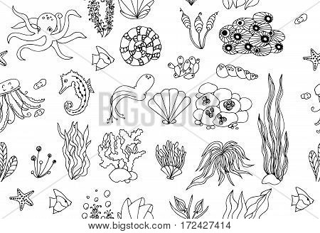 Seamless background with Starfishes and Cockleshells. Black and white.
