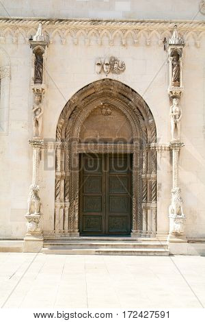 Door of Cathedral of St. Jamers in Sibenik Croatia
