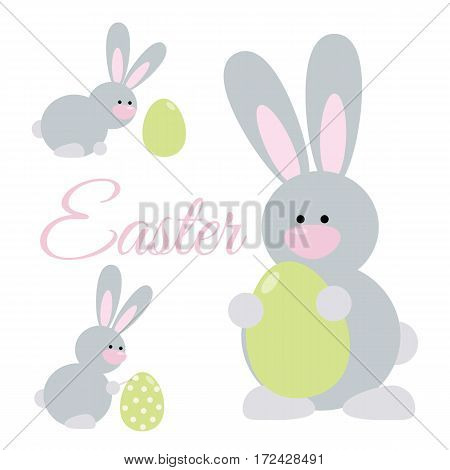 Set of cute cartoon easter rabbits. Bunny holding an egg paints an egg looking at an egg.
