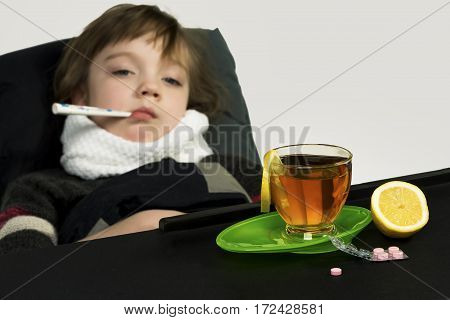 The child got sick fever cough runny nose