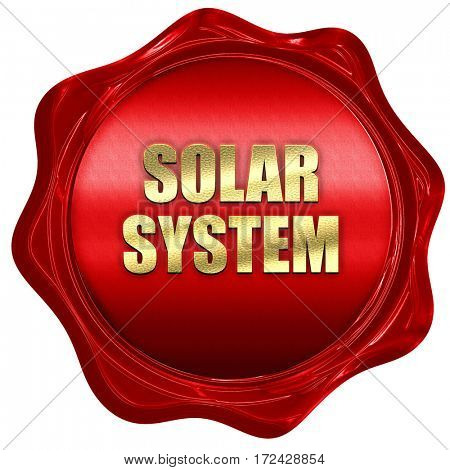 solar system, 3D rendering, red wax stamp with text