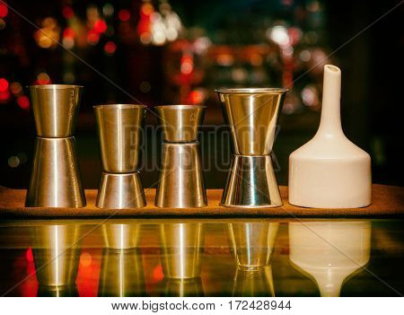 Sheker set measuring cup tools bartender set of equipment bar retro style vintage