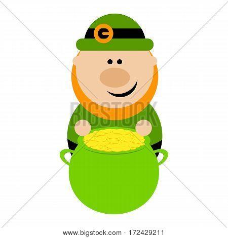 Funny cartoon leprechaun sitting near a pot of gold