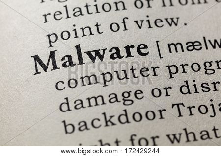 Fake Dictionary Dictionary definition of the word Malware. including key descriptive words.