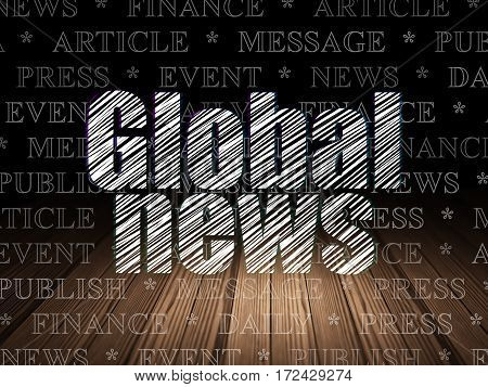 News concept: Glowing text Global News in grunge dark room with Wooden Floor, black background with  Tag Cloud