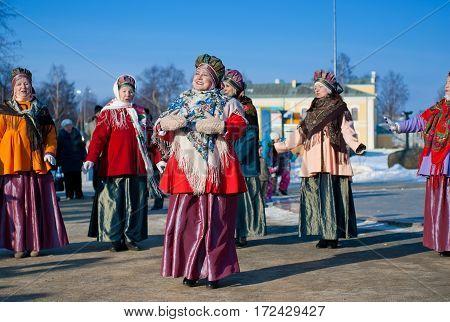RUSSIA PETROZAVODSK KARELIA - FEBRUARY 212016: Folk Song and Dance. Holiday Hyperborea.