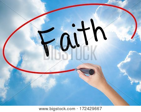 Woman Hand Writing Faith With Black Marker On Visual Screen