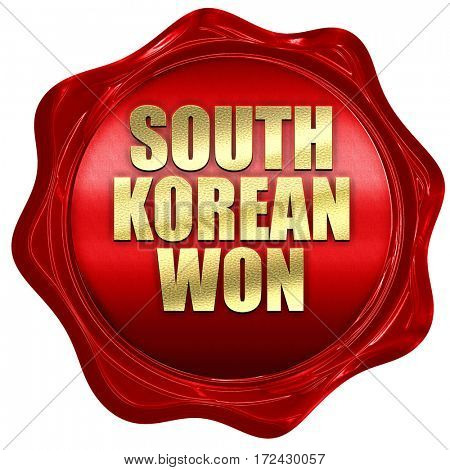 south korean won, 3D rendering, red wax stamp with text