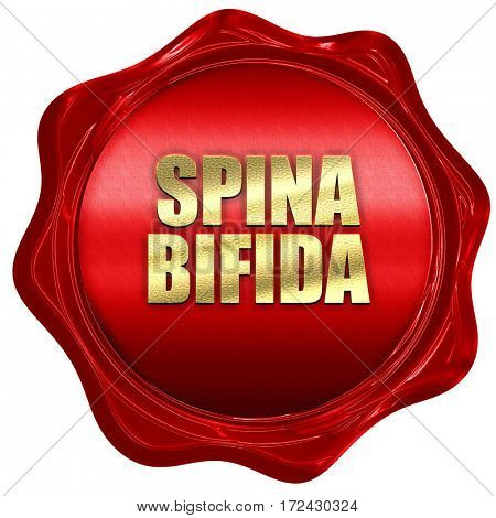 spina bifida, 3D rendering, red wax stamp with text