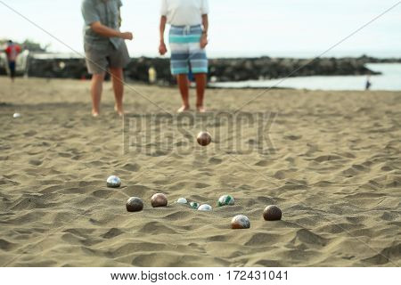 People Or Men Play Bocce Sport With Balls