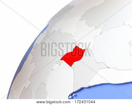 Uganda On Modern Shiny Globe