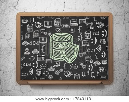 Database concept: Chalk Green Database With Shield icon on School board background with  Hand Drawn Programming Icons, 3D Rendering