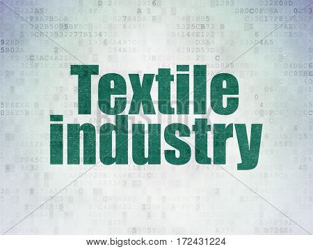 Manufacuring concept: Painted green word Textile Industry on Digital Data Paper background