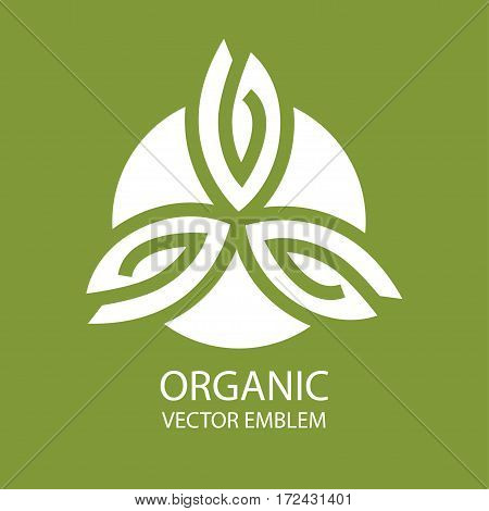 Vector abstract emblem, outline monogram, flower symbol, concept for organic shop or yoga studio, logo design template, linear logo design template, organic food and farming, green, vegan food concept, stamp