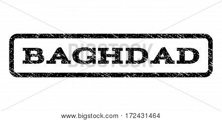 Baghdad watermark stamp. Text tag inside rounded rectangle frame with grunge design style. Rubber seal stamp with unclean texture. Vector black ink imprint on a white background.