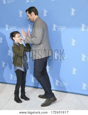 BERLIN, GERMANY - FEBRUARY 17:  Dafne Keen and Hugh Jackman attend the 'Logan' (Masaryk) photo call during the 67th Berlinale Festival Berlin at Hyatt Hotel on February 17, 2017 in Berlin, Germany.
