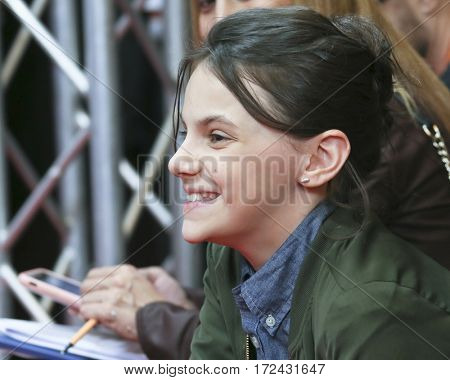 BERLIN, GERMANY - FEBRUARY 17: Dafne Keen attends the 'Logan' (Masaryk) press conference during the 67th Berlinale Festival Berlin at Grand Hyatt Hotel on February 17, 2017 in Berlin, Germany.