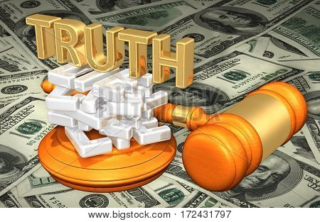 Truth On A Stack Of Lies Law Legal Gavel Concept 3D Illustration