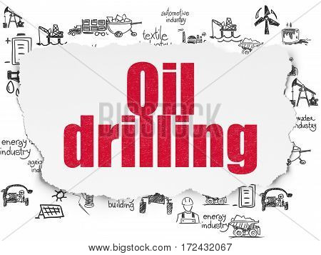 Industry concept: Painted red text Oil Drilling on Torn Paper background with  Hand Drawn Industry Icons