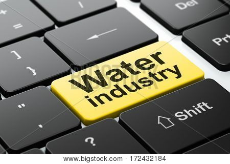 Manufacuring concept: computer keyboard with word Water Industry, selected focus on enter button background, 3D rendering