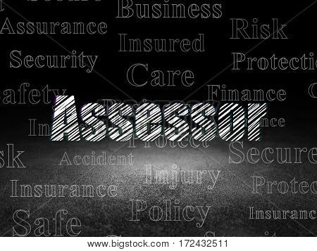 Insurance concept: Glowing text Assessor in grunge dark room with Dirty Floor, black background with  Tag Cloud