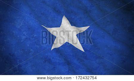 Grunge Flag Of Somalia - Dirty Somali Flag 3D Illustration