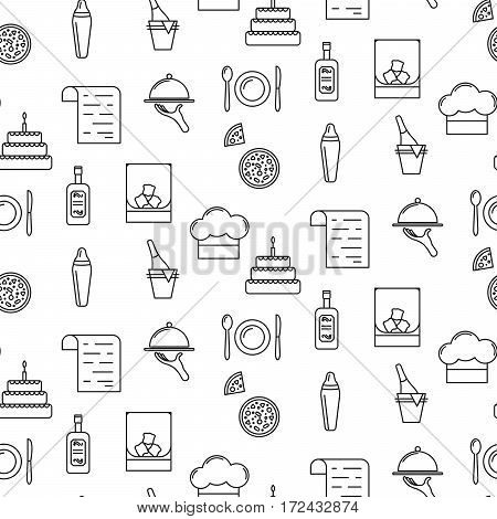 Bistro line icon seamless pattern. Black objects of food and drink on white background.