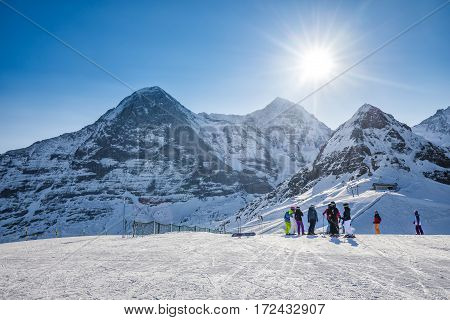 KLEINE SCHEIDEGG SWITZERLAND - January 2017 - Swiss ski alpine mountain resort with famous Eiger Monch and Jungfrau mountain Grindelwald Berner Oberland Grindelwald Switzerland.
