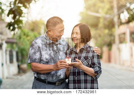 Happy Asian senior man give a gift box to Asian senior woman