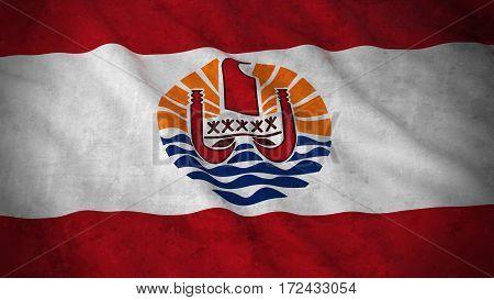 Grunge Flag Of Tahiti - Dirty Tahitian Flag 3D Illustration