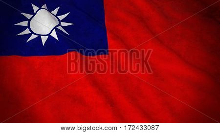 Grunge Flag Of Taiwan - Dirty Taiwanese Flag 3D Illustration