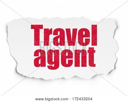 Travel concept: Painted red text Travel Agent on Torn Paper background with  Hand Drawn Vacation Icons