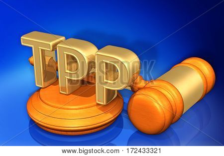 TPP Law Legal Gavel Concept 3D Illustration