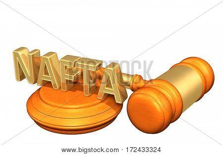NAFTA Legal Gavel Concept 3D Illustration