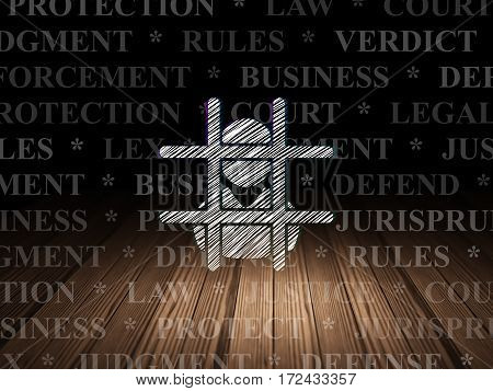 Law concept: Glowing Criminal icon in grunge dark room with Wooden Floor, black background with  Tag Cloud