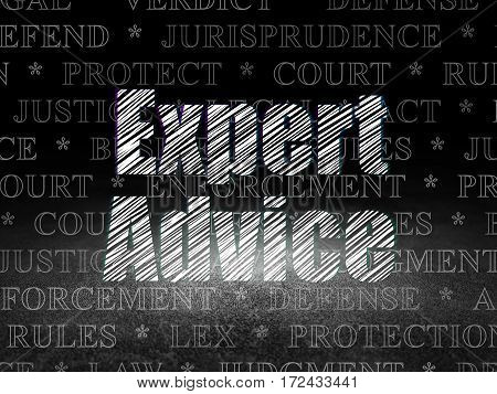 Law concept: Glowing text Expert Advice in grunge dark room with Dirty Floor, black background with  Tag Cloud