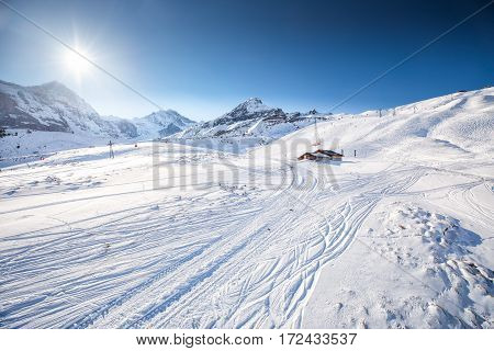 Swiss ski Alpine mountain resort with famous Eiger Monch and Jungfrau mountain Grindelwald Berner Oberland Grindelwald Switzerland.
