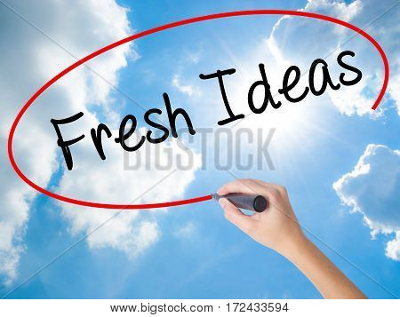 Woman Hand Writing Fresh Ideas With Black Marker On Visual Screen