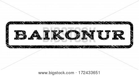 Baikonur watermark stamp. Text tag inside rounded rectangle frame with grunge design style. Rubber seal stamp with dirty texture. Vector black ink imprint on a white background.